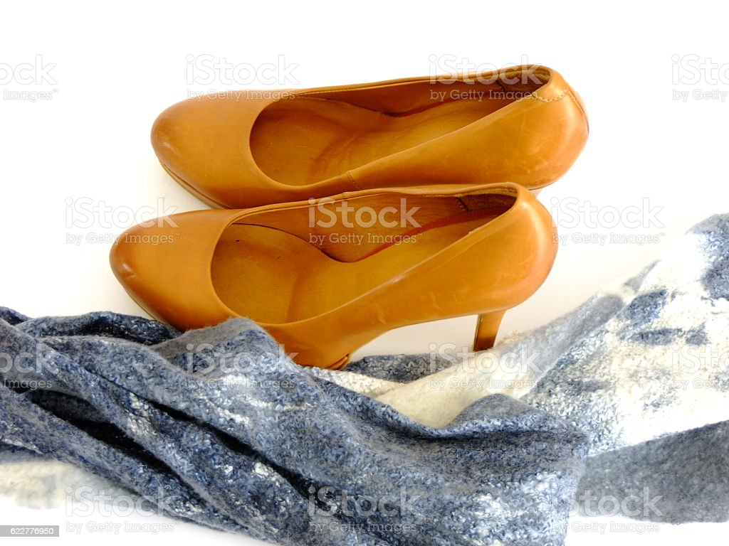 Formal Shoes and Scarf stock photo
