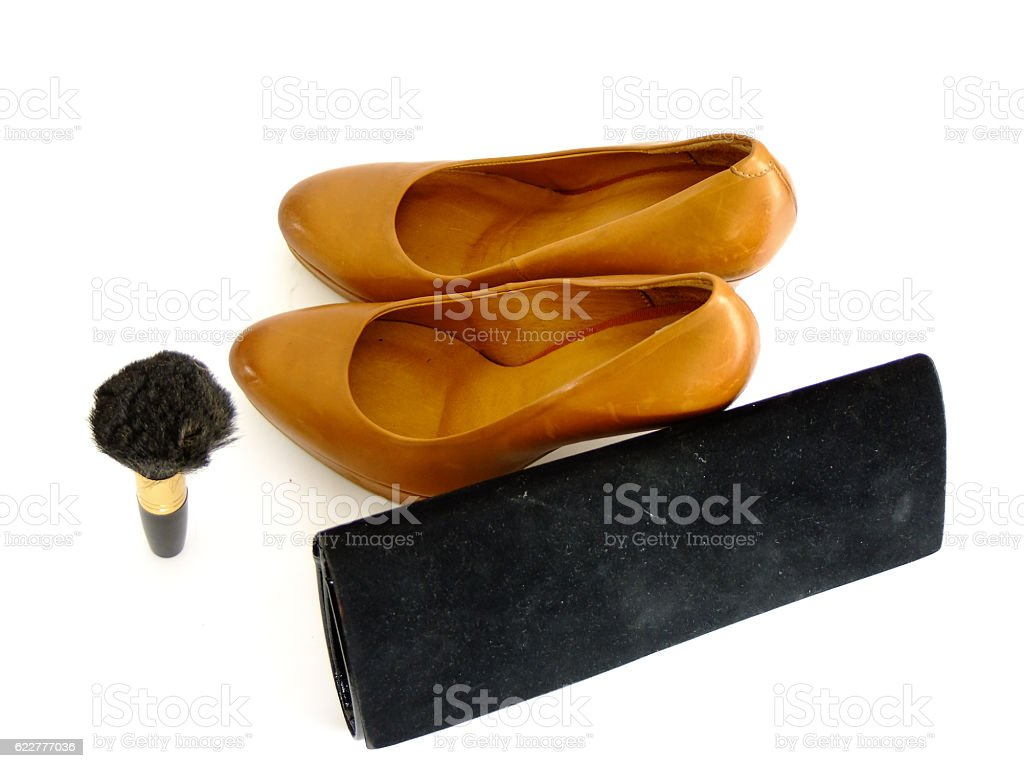 Formal Shoes, Powder Brush and Clutch stock photo