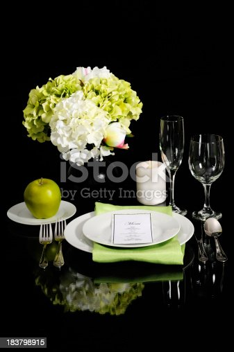 istock Formal Table With Mirrored Image Setting On Black 183798915