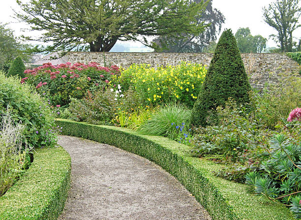 Formal walled garden at Aberglasney stock photo