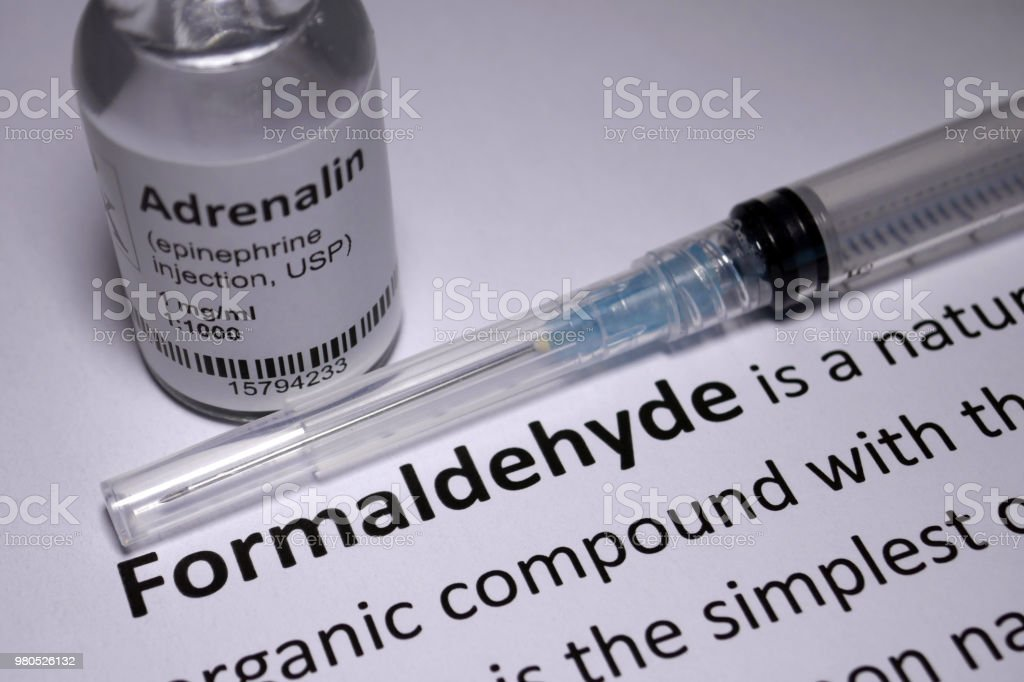 Formaldehyde Sensitivity anaphylactic shock stock photo