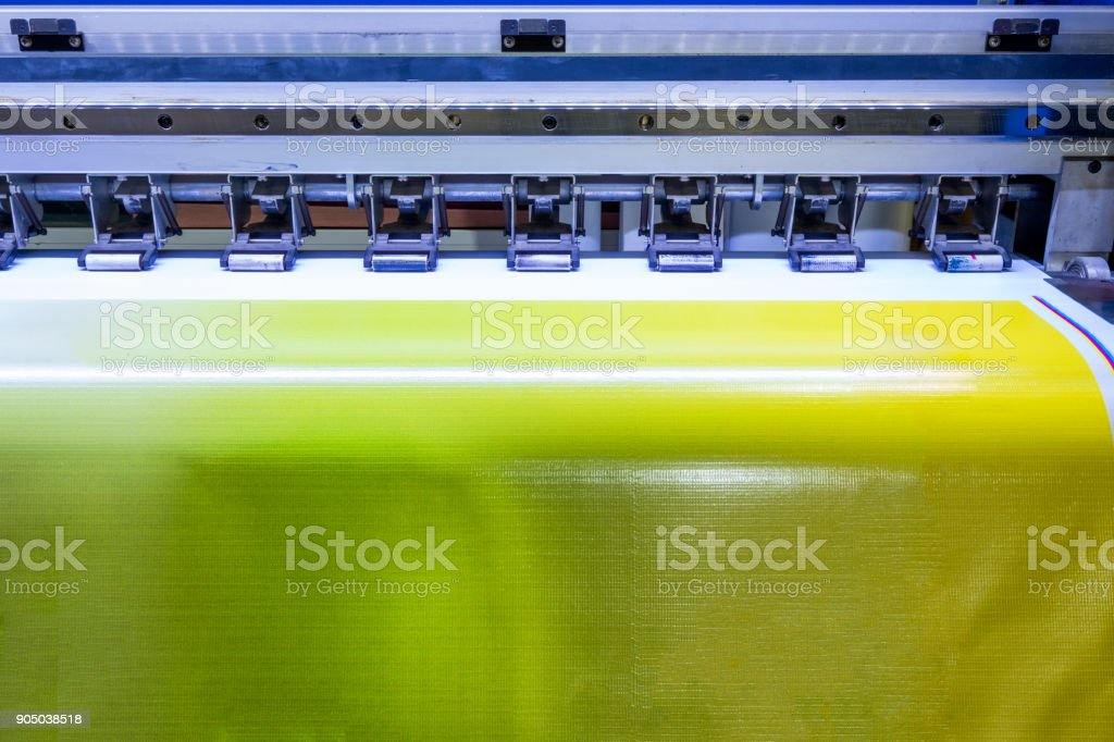 Format large inkjet printer working on vinyl banner stock photo