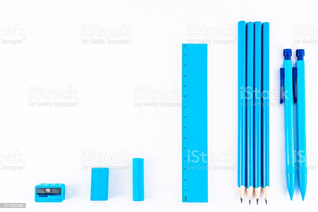Formation of blue isolated writing equipment. royalty-free stock photo