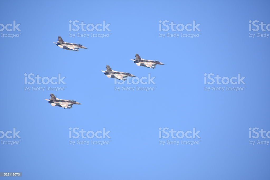 Formation of Four military jets stock photo