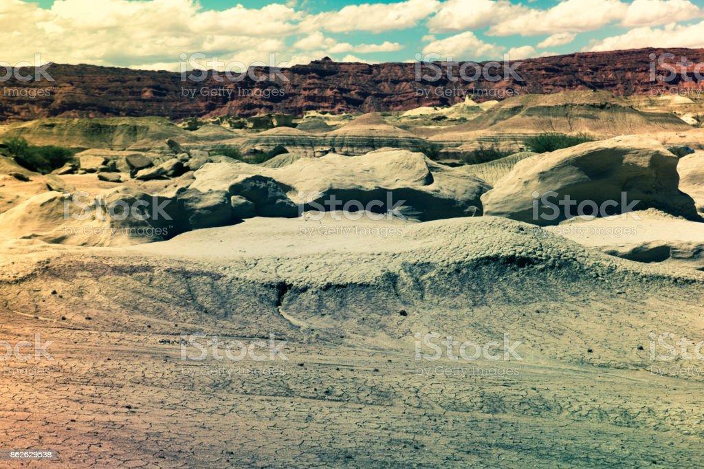 Formations of stones in Ischigualasto Park stock photo