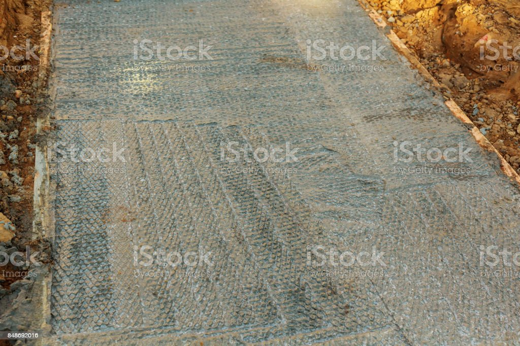 Formed and Poured Concrete Sidewalk stock photo