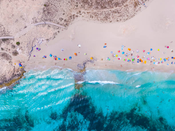 formentera aerial view of turquoise water and yachts anchored - ibiza imagens e fotografias de stock