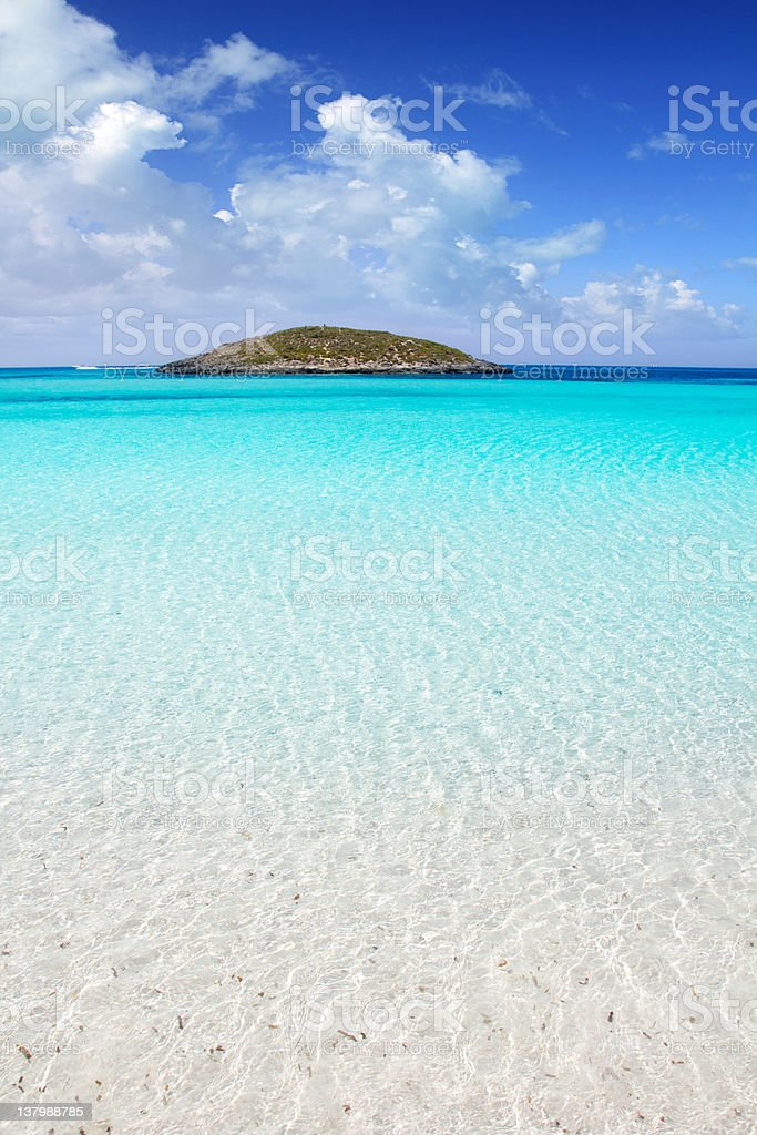 Formentera Balearic island in middle of the clear blue sea stock photo