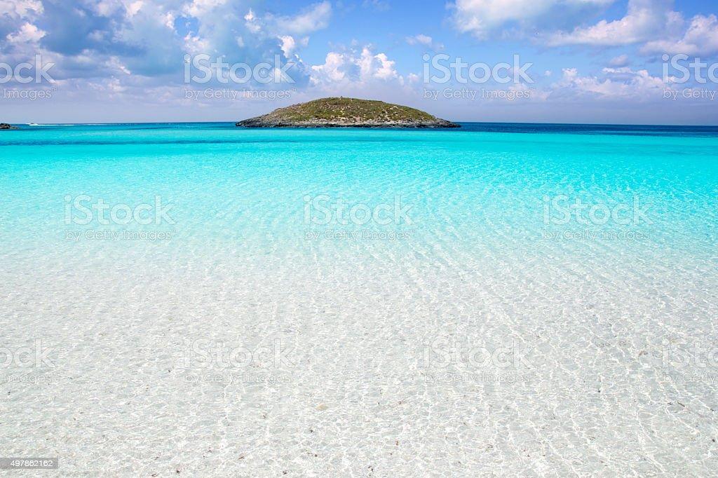 Formentera beach illetas white sand turquoise water stock photo