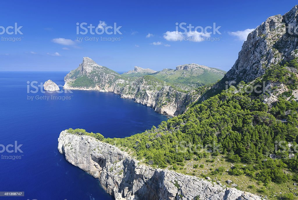 Formentor cape in summer landscape stock photo