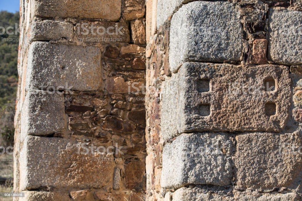 Former Ataecina stone altar reused as ashlar stock photo