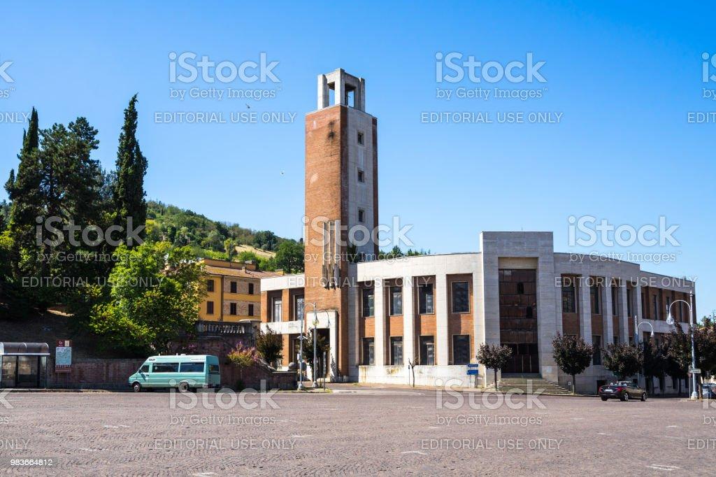 Former 'Casa del fascio' builty by Mussolini is a fine example of italian rationalist architecture, Predappio, Emilia Romagna, Italy stock photo