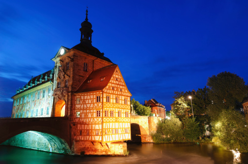 Former city hall (Altes Rathaus) in Bamberg at night