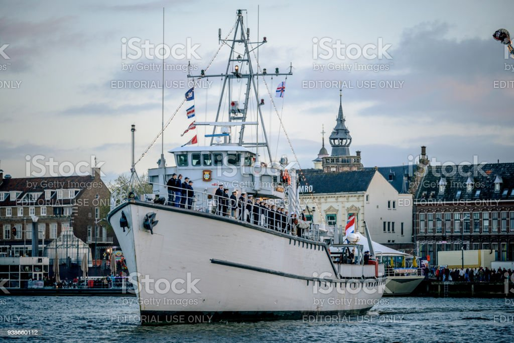 Former Dutch Minesweeper Sittard With The Crew Standing In