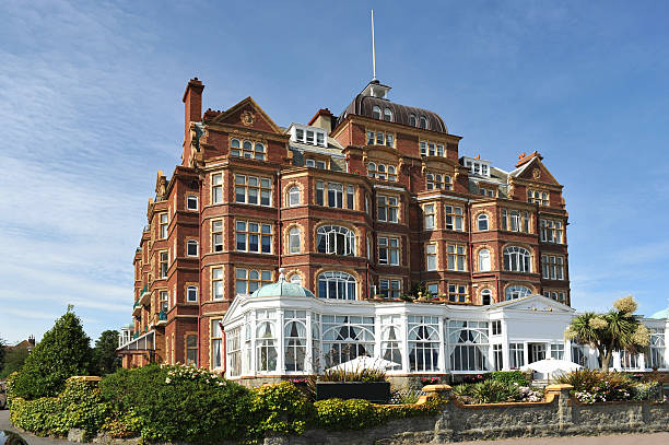 former edwardian hotel building overlooking the sea at folkestone - english channel stock pictures, royalty-free photos & images