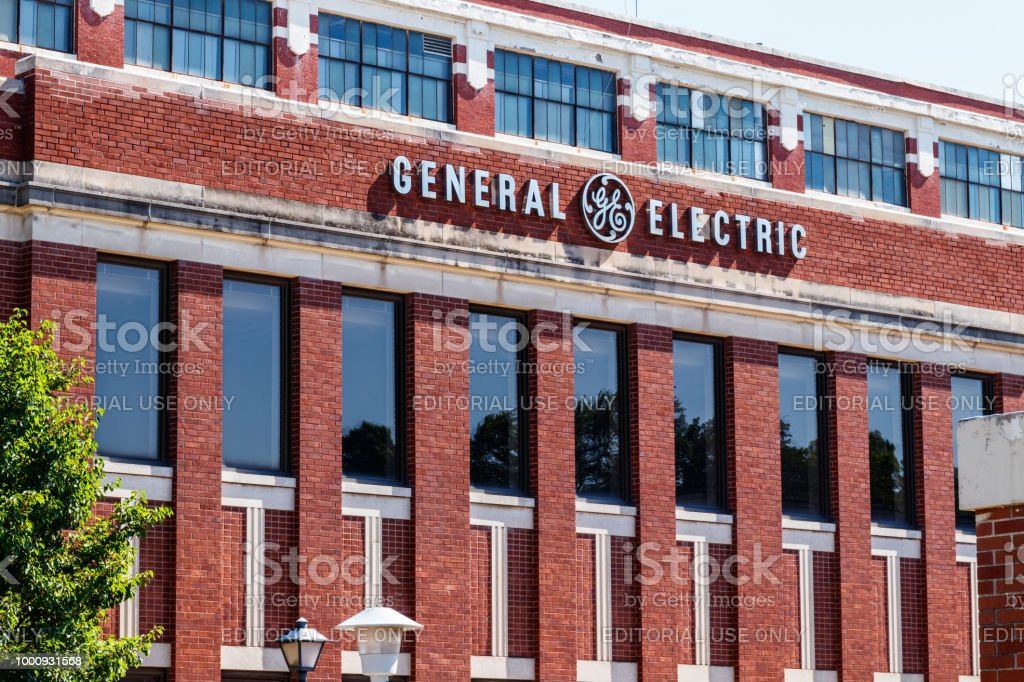 Former General Electric Lighting Factory. Financial troubles have forced GE to seek buyers for several divisions, including lighting and healthcare IV stock photo