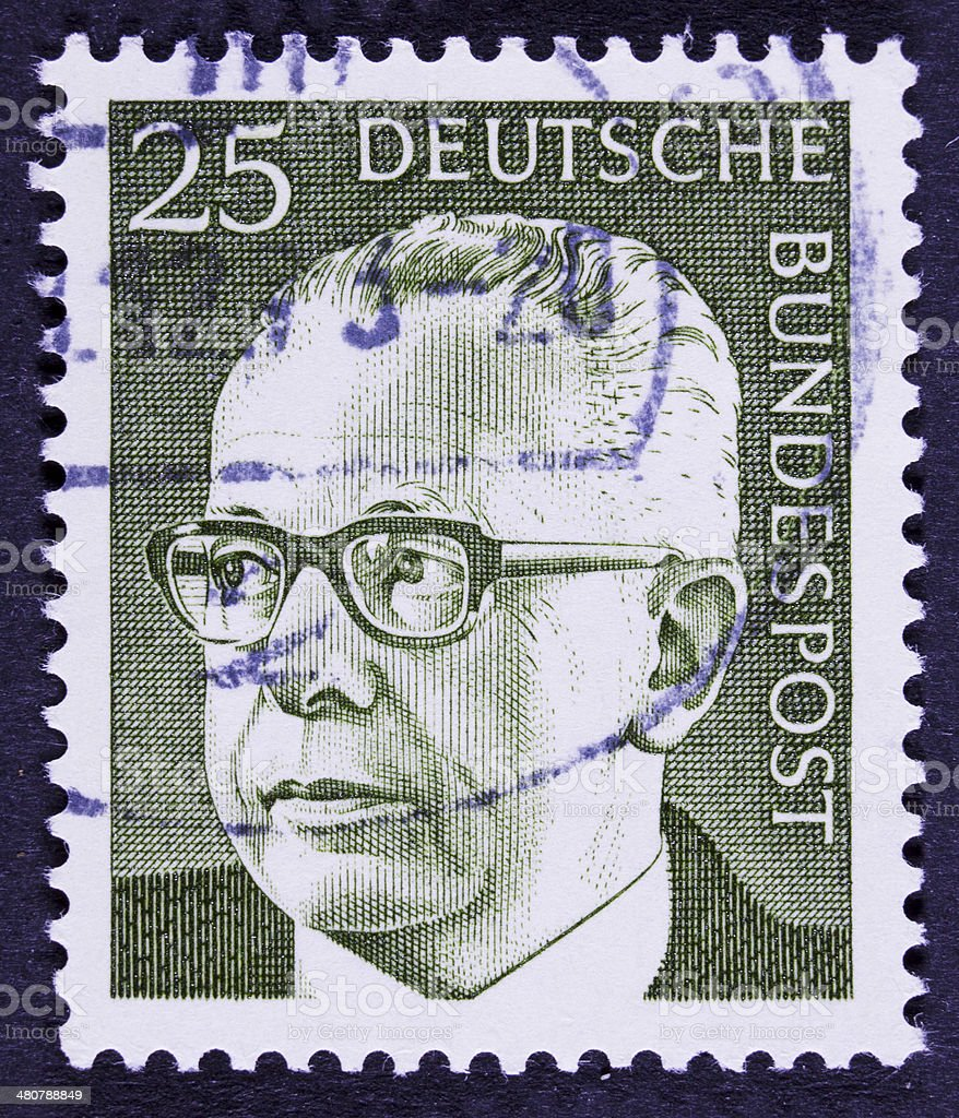 Former German President on an old stamp. stock photo