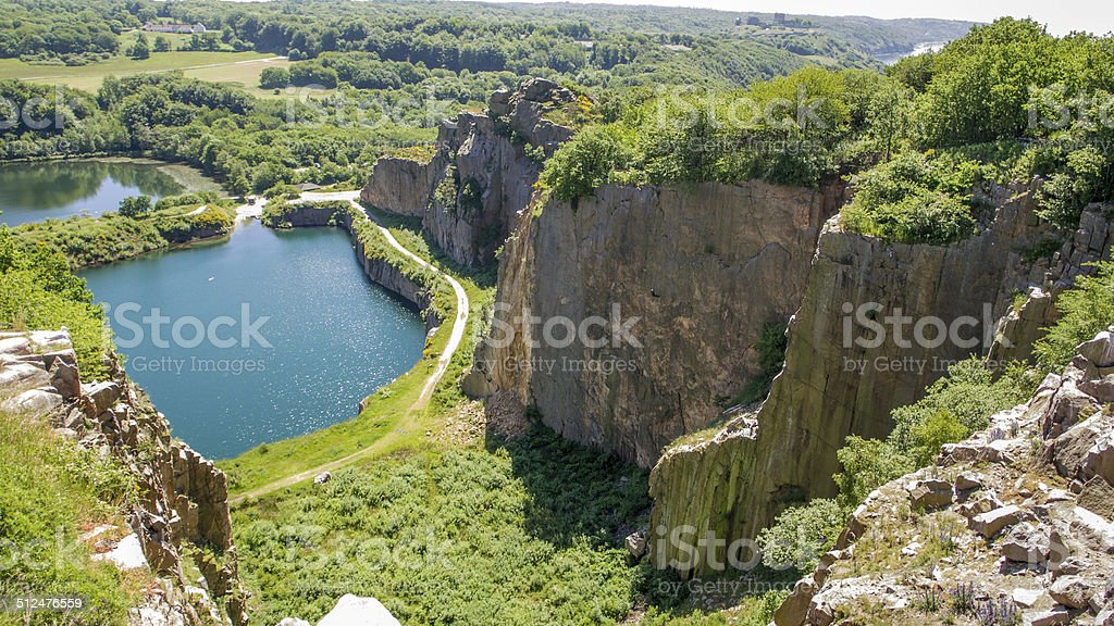Former granite quarry on Bornholm, stock photo