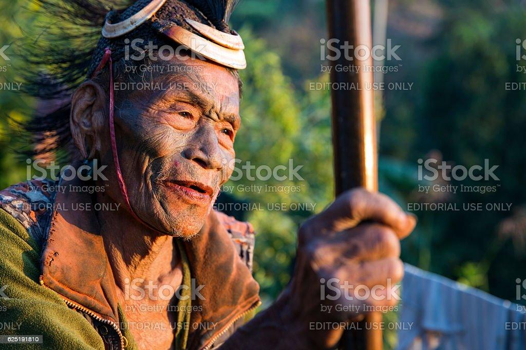 Former headhunter of Singha Chingnyu Village, Nagaland, india. stock photo