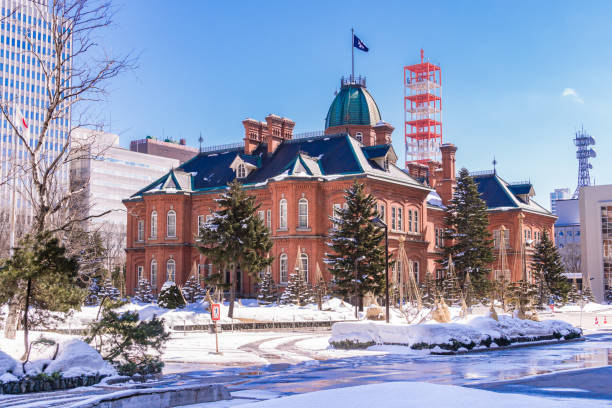 former hokkaido government office building (red brick office) - sapporo stock photos and pictures