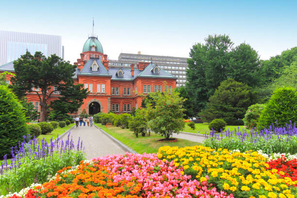 former hokkaido government office in sapporo, hokkaido, japan - sapporo stock photos and pictures