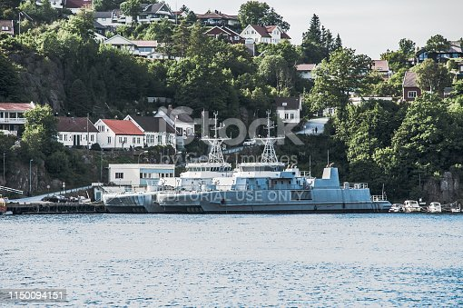 Norway, Mandal - August 8 2010: Former minehunter KNM Oks?y M340 and minesweeper KNM Glomma M354 of the Norwegian Navy laid up in Kleven.