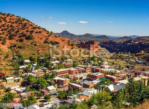 Town of Bisbee with surrounding Mule Mountains in Arizona. This historic mining town was built early 1900s and is the county seat of Cochise County.