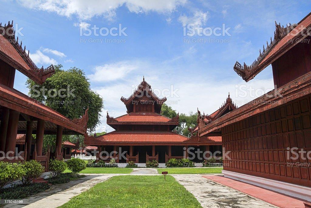 Former palace of the Burmese emperor. (Mandlay, Myanmar) royalty-free stock photo