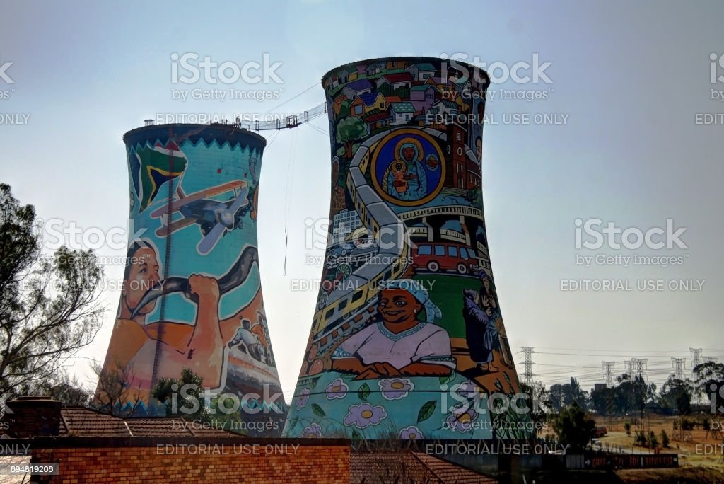 Former powerplant, cooling tower, now is place for BASE jumping stock photo