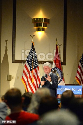 Bridgeton, MO, USA – March 08, 2016: Former president Bill Clinton speaks to supporters of wife and presidential democratic candidate Hillary Clinton, at District 9 Machinists Hall in Bridgeton, outside St. Louis.