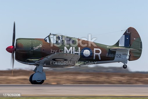 Avalon, Australia - March 5, 2013: Former Royal Australian Air Force (RAAF) Commonwealth Aircraft Corporation CA-13 Boomerang fighter aircraft taking off from Avalon Airport.