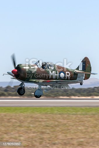 Avalon, Australia - March 5, 2013: Former Royal Australian Air Force (RAAF) Commonwealth Aircraft Corporation CA-13 Boomerang fighter aircraft landing at Avalon Airport.