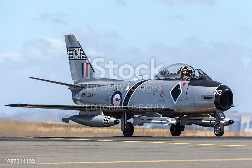 Avalon, Australia - February 25, 2013: Former Royal Australian Air Force (RAAF) Commonwealth Aircraft Corporation CA-27 Sabre (North American F-86 Sabre) fighter aircraft taxiing at Avalon Airport.