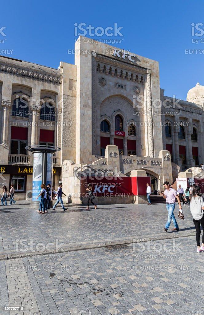 Former Sabunchu Station. KFC fast food restaurant stock photo