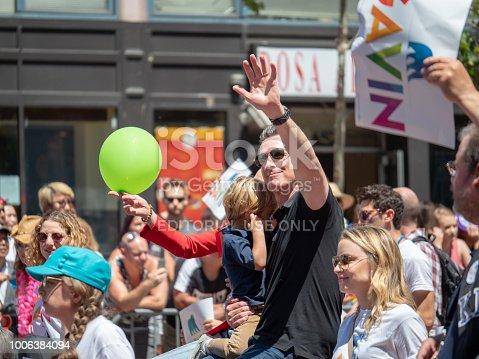 SAN FRANCISCO, CA JUNE 24, 2018: Former San Francisco Mayor Gavin Newsom waves at the crowd at the 2018 San Francisco Pride Parade
