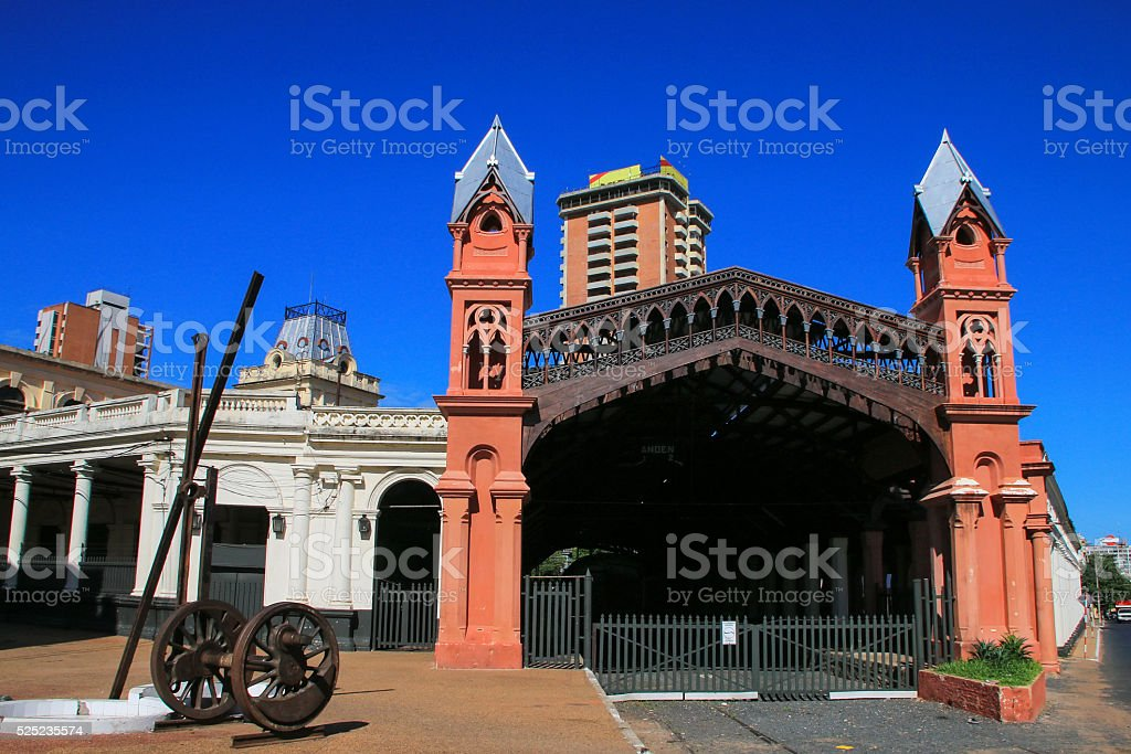 Former train station in Asuncion, Paraguay stock photo