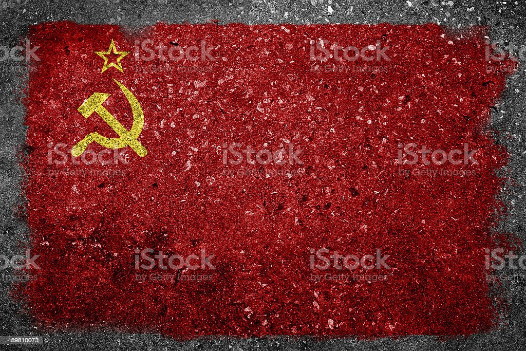 Former USSR Flag Painted on Concrete Wall stock photo