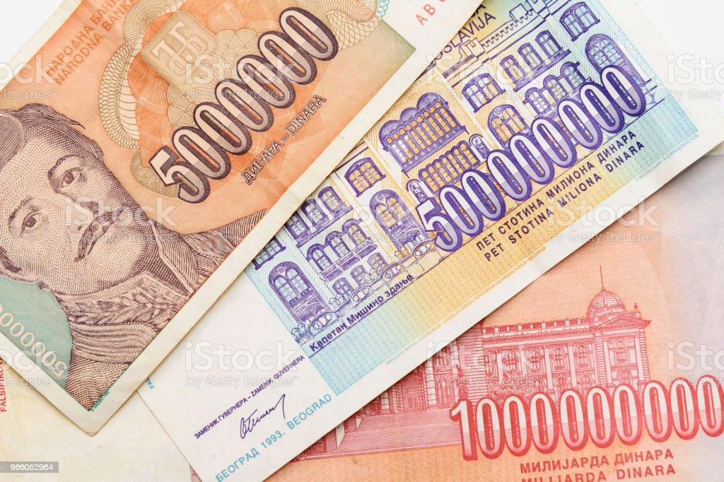 Forna Jugoslavien sedlar - Royaltyfri Bank Bildbanksbilder