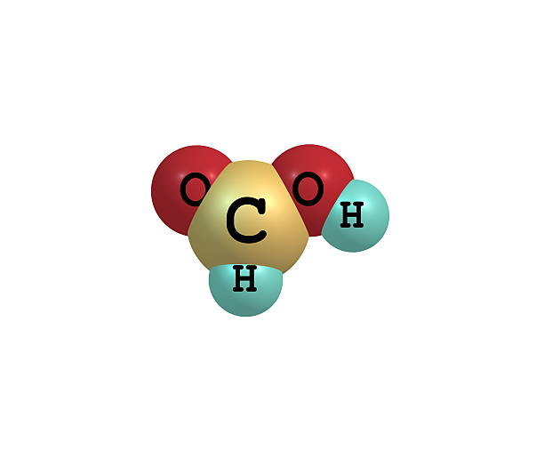 Formic acid molecule isolated on white Formic acid (methanoic acid) is the simplest carboxylic acid. Its chemical formula is HCOOH or HCO2H formic acid stock pictures, royalty-free photos & images