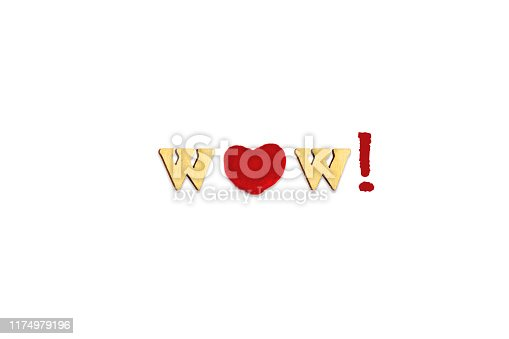 istock forming the  text WOW with wooden letters  and red wooden heart isolated on white 1174979196