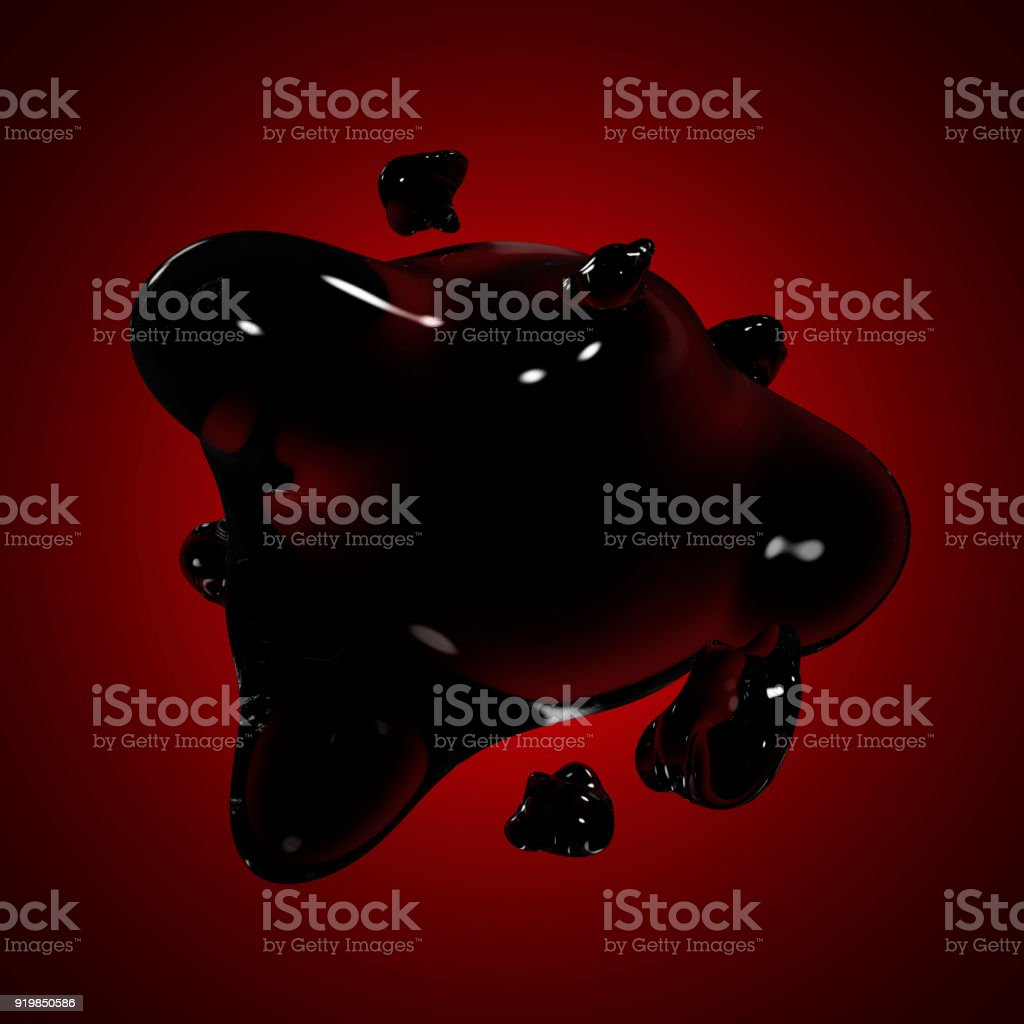 Formless drop of liquid on a red, purple background. Abstract image for design. Background for an inscription stock photo