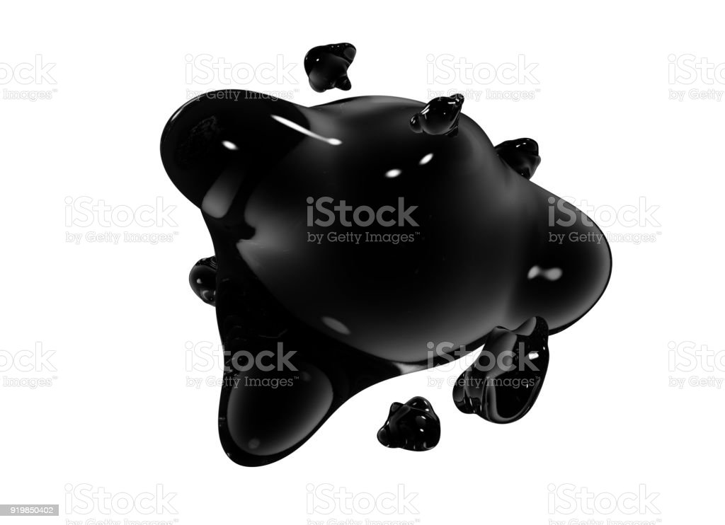 Formless drop of liquid on a white background. Abstract image for design. Background for an inscription stock photo