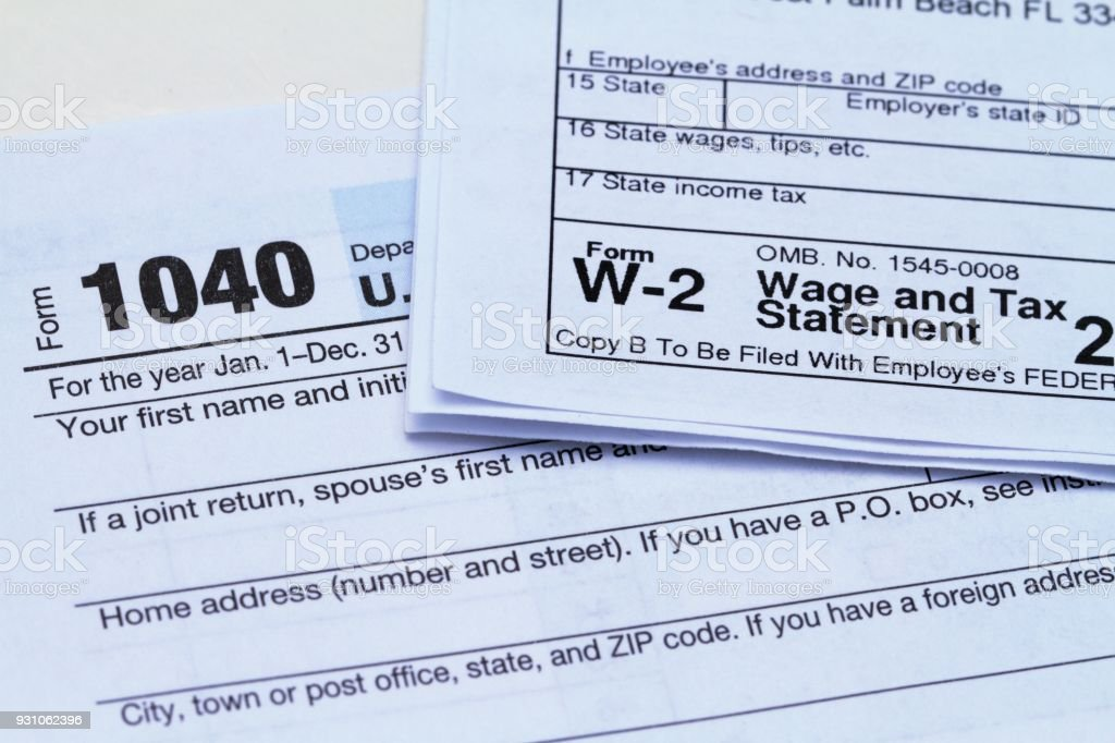 Irs Forms For Filing Taxes Form 1040 And W2 Stock Photo More