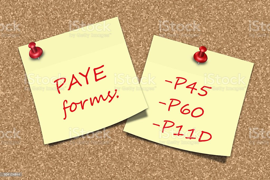PAYE forms information sticky notes pinned to pin board stock photo