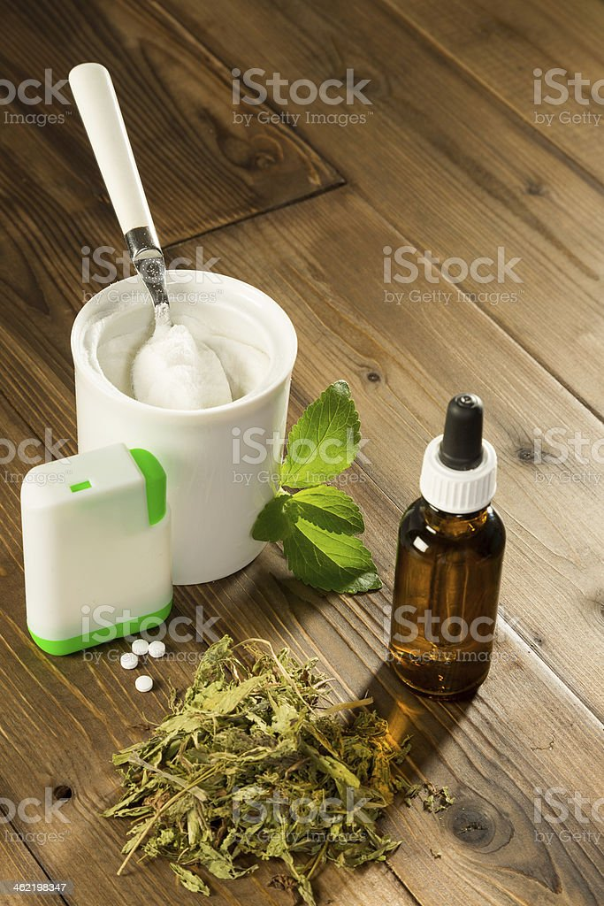 Forms of Stevia sweetener stock photo
