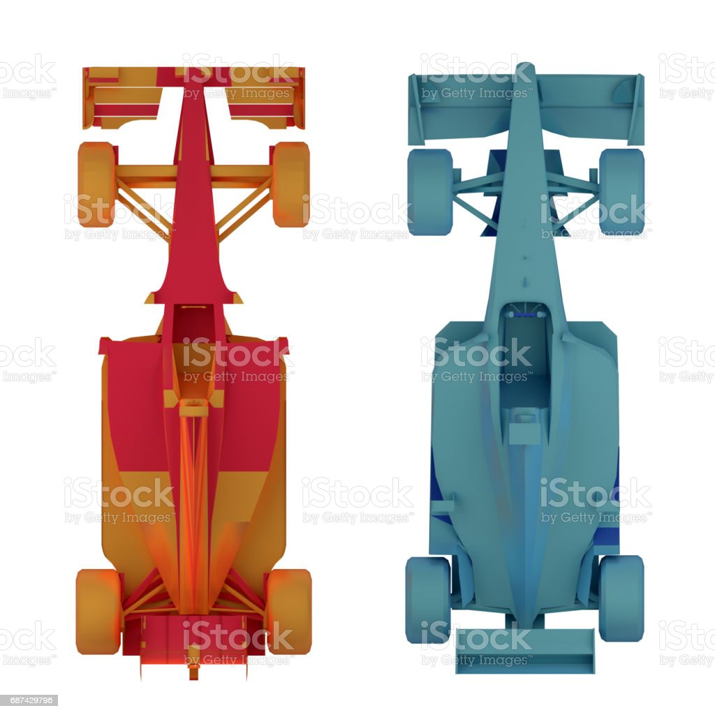formula 1 race car top view 3d rendering stock photo
