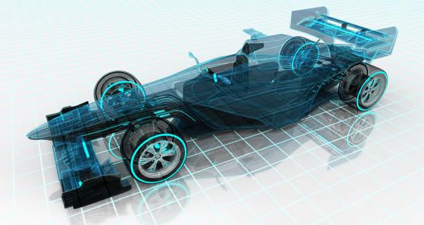 포뮬러 자동차 기술 와이어 프레임 스케치 상단 전면 보기 - formula 1 뉴스 사진 이미지