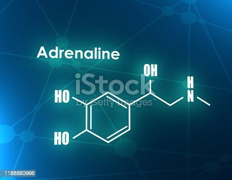 Chemical molecular formula hormone adrenaline. Infographics illustration. 3D rendering