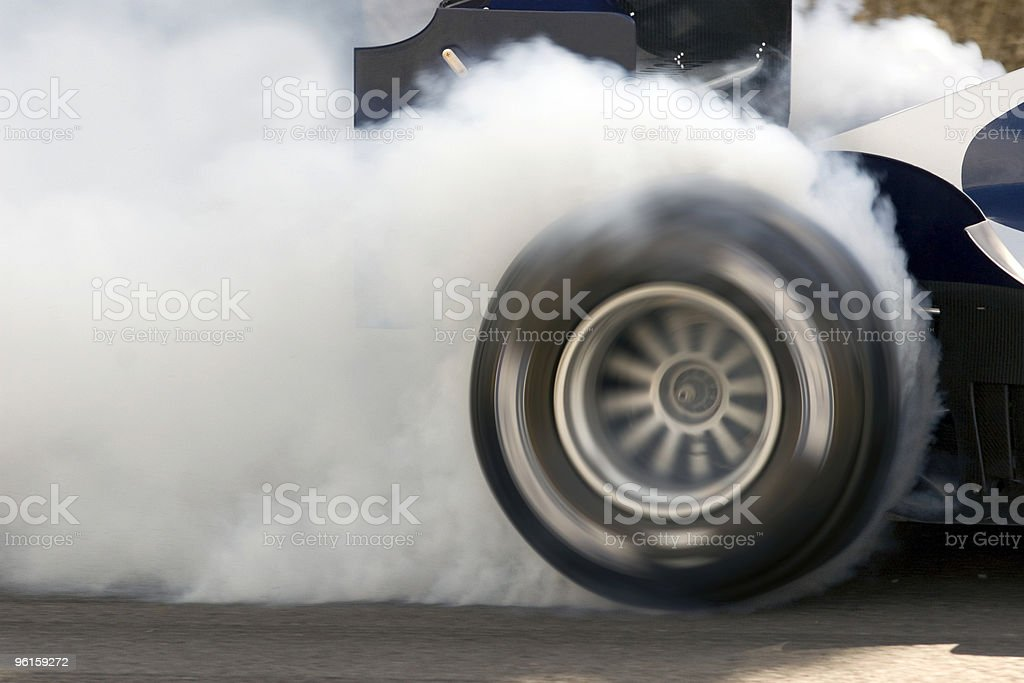 Formula One Car Wheelspin stock photo