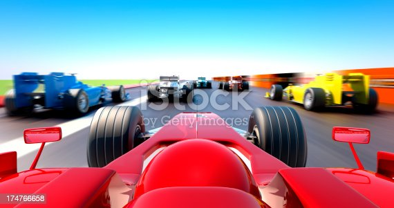 istock Formula One cars racing - cockpit view 174766658